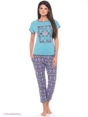 Комплект домашней одежды ( футболка, бриджи) HomeLike. Цвет: бирюзовый
