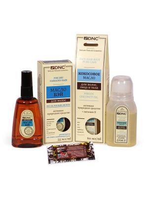 Байевое и Кокосовое масло для волос, Биокомплекс в подарок (55 мл; 60мл; 15мл) DNC. Цвет: светло-желтый, белый, прозрачный
