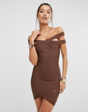 Missguided Бандажное платье мини премиум-класса с вырезом лодочкой. Цвет: коричневый