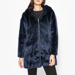 Пальто из искусственного меха с капюшоном  OMONADE ESSENTIEL ANTWERP. Цвет: синий