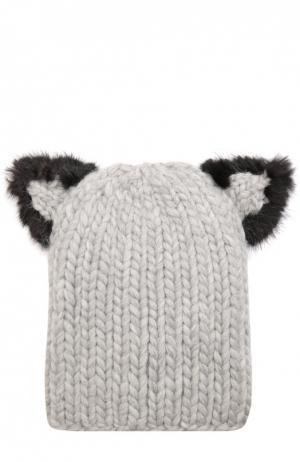 Шерстяная шапка с отделкой из меха норки Eugenia Kim. Цвет: светло-серый