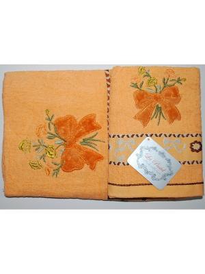 Комплект полотенец 2пр Бантики (50х90,70х140) La Pastel. Цвет: оранжевый