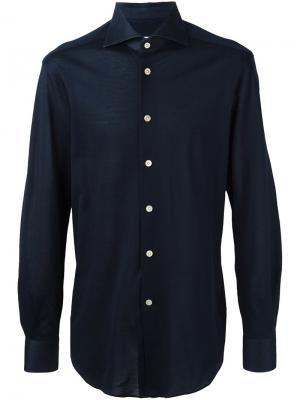 Классическая рубашка Kiton. Цвет: синий