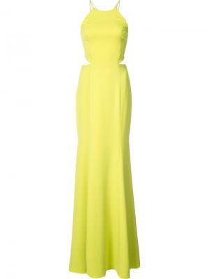 Вечернее платье с вырезными деталями Marchesa Notte. Цвет: зелёный