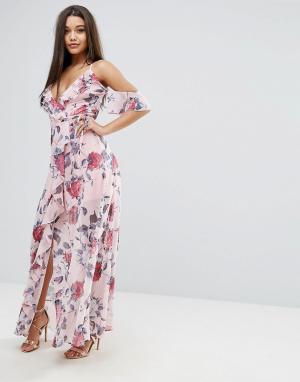 Lipsy Платье макси с цветочным принтом. Цвет: мульти