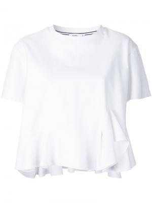 Укороченная футболка с оборками Goen.J. Цвет: белый