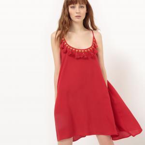 Платье с тонкими бретелями и глубоким вырезом помпонами MOLLY BRACKEN. Цвет: красный