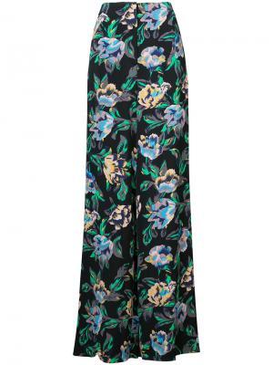 Расклешенные брюки с цветочным принтом Dvf Diane Von Furstenberg. Цвет: чёрный
