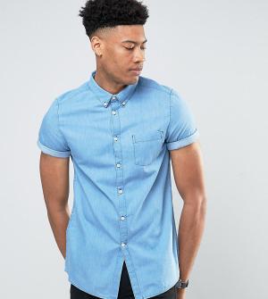 Burton Menswear Светлая выбеленная джинсовая рубашка с коротким рукавом Menswea. Цвет: синий