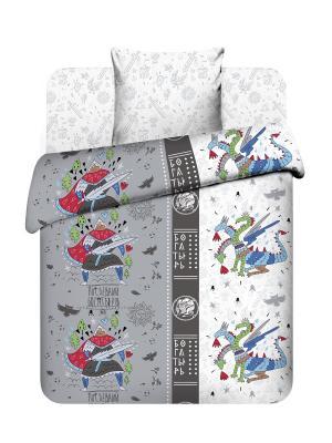 Комплект постельного белья Последний богатырь из бязи 1,5 спальный Василек. Цвет: серый, белый