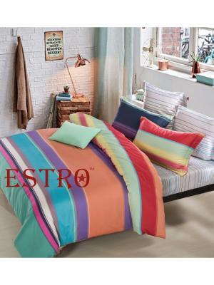 Постельное белье евро, мако-сатин, ARCOBALENO ESTRO. Цвет: голубой, красный, светло-оранжевый