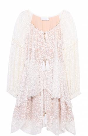 Шелковое кружевное мини-платье с поясом Zimmermann. Цвет: белый