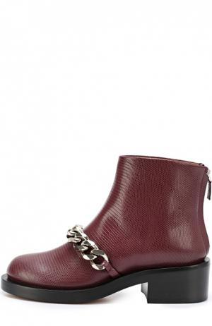 Кожаные ботинки с металлической цепью Givenchy. Цвет: бордовый
