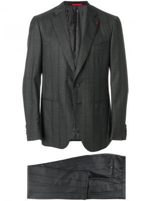 Полосатый деловой костюм Isaia. Цвет: серый