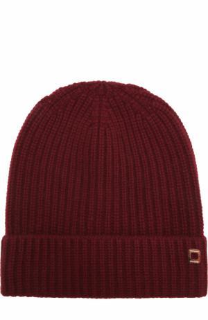 Кашемировая шапка фактурной вязки Colombo. Цвет: бордовый