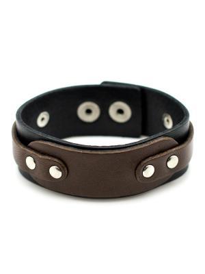 Кожаный браслет TRONIN. Цвет: черный, светло-коричневый