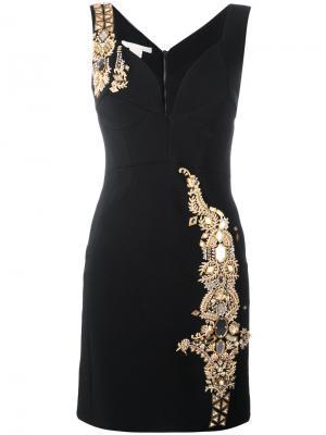 Приталенное платье с отделкой металлик Antonio Berardi. Цвет: чёрный