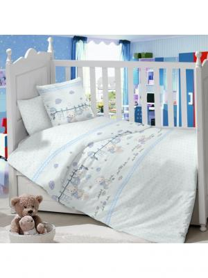 Комплект постельного белья в детскую кроватку из сатина (простыня на резинке) Ивбэби. Цвет: голубой, молочный, светло-голубой