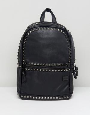 Spiral Рюкзак из искусственной кожи с отделкой заклепками Luxe. Цвет: черный