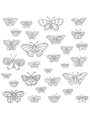 Наклейки для декора Мерцающие бабочки ROOMMATES. Цвет: белый, черный, синий, зеленый, серый, голубой, красный, оранжевый, желтый