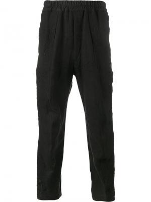 Укороченные брюки с вышивкой By Walid. Цвет: чёрный