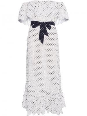 Платье с заниженной линией плеч Marysia. Цвет: белый