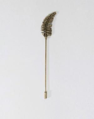 ASOS Золотистая булавка на лацкан в виде листика папоротника. Цвет: золотой