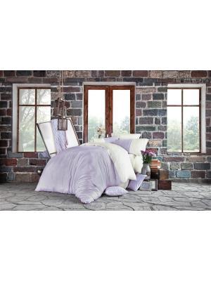 Комплект постельного белья PETRA Lilac/Лиловый, добби сатин, 200ТС, 100% хлопок, евро ISSIMO Home. Цвет: лиловый