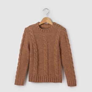 Пуловер с узором косы и круглым вырезом 3-12 лет La Redoute Collections. Цвет: бежевый/карамель