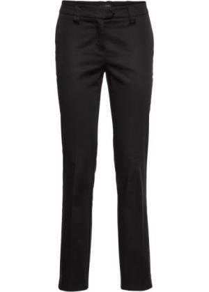 Хлопковые брюки со стрелками (черный) bonprix. Цвет: черный