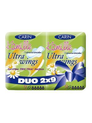 Женские гигиенические прокладки Ultra Wings Kamille Duo, с ароматом ромашки, 2 упаковки по 9 шт\уп. Carin. Цвет: белый