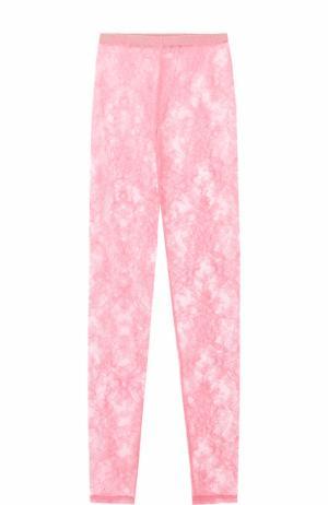 Прозрачные кружевные леггинсы Gucci. Цвет: розовый