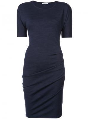 Трикотажное приталенное платье Halston Heritage. Цвет: синий
