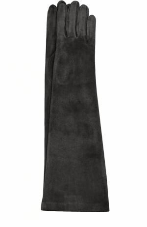 Удлиненные замшевые перчатки Sermoneta Gloves. Цвет: черный