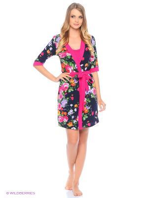 Комплект домашний(халат,сорочка) MARSOFINA. Цвет: розовый