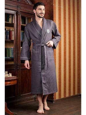 Халат мужской Monte Carlo (вафельный бамбук) FIVE WIEN. Цвет: серый