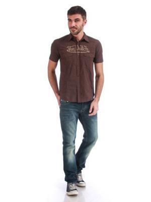 Рубашка мужская VON DUTCH. Цвет: коричневый