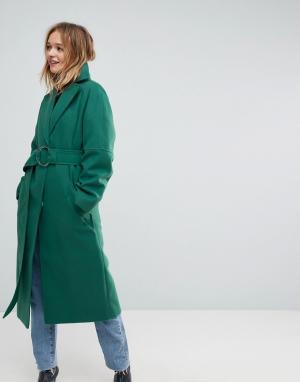 ASOS Зеленое длинное пальто с поясом и D-образным кольцом. Цвет: зеленый
