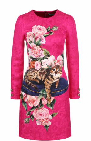 Приталенное платье-миди с принтом Dolce & Gabbana. Цвет: фуксия