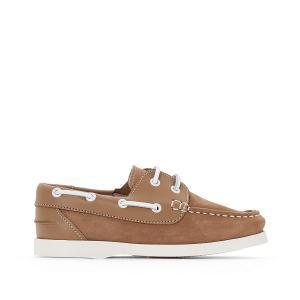 Туфли-лодочки из невыделанной кожи La Redoute Collections. Цвет: темно-синий