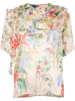 Блузка с цветочным принтом Rochas. Цвет: многоцветный