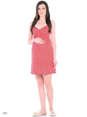 Ночная сорочка Hunny Mammy. Цвет: красный, молочный