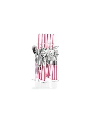 Набор столовых приборов на подставке Floret, 24 предмета Elff Ceramics. Цвет: розовый