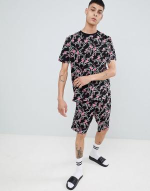 ASOS Пижама с шортами и цветочным принтом DESIGN. Цвет: черный