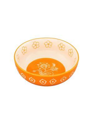 Салатник Цветочное оранжевое поле Elan Gallery. Цвет: оранжевый