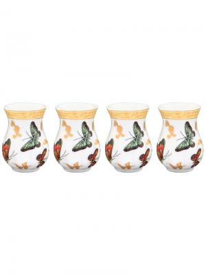 Набор из 4-х вазочек под зубочистки Бабочки Elan Gallery. Цвет: белый, зеленый, золотистый