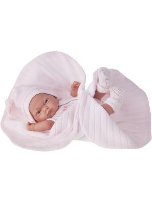 Кукла-младенец Карла в розовом одеяле, 26 см Antonio Juan. Цвет: бледно-розовый