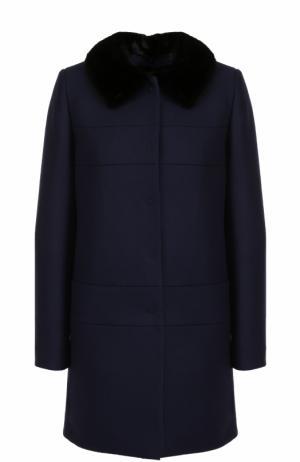 Пальто из смеси шерсти и кашемира с отделкой меха норки Tara Jarmon. Цвет: темно-синий