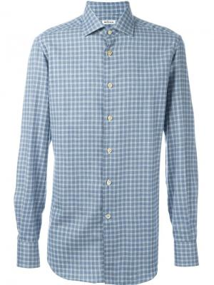 Рубашка в клетку Kiton. Цвет: синий