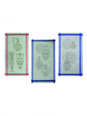 Набор полотенец из 3-х шт. Керамика-3 Белорусский Лен. Цвет: зеленый, красный, синий